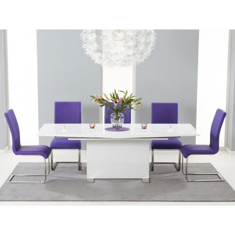 Marila White High Gloss Extending Dining Set | Dining Room | Fads Inside Purple Faux Leather Dining Chairs (Image 11 of 25)