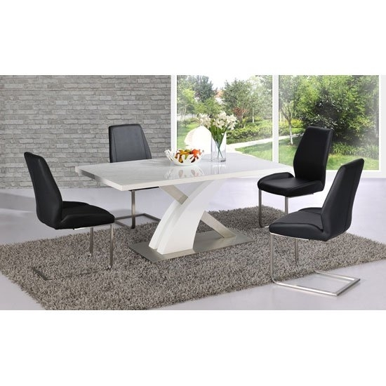 Mario Dining Table In White Glass Top With 6 Black Dining Throughout Mayfair Dining Tables (Image 10 of 25)