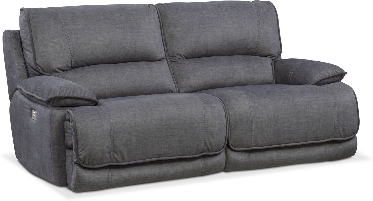 Mario Dual Power Reclining Sofa – Charcoal | Value City Furniture Intended For Marcus Grey 6 Piece Sectionals With  Power Headrest & Usb (Image 18 of 25)