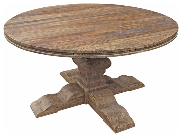 Maris French Country Reclaimed Elm Round Dining Table – Traditional For Round Dining Tables (Image 14 of 25)