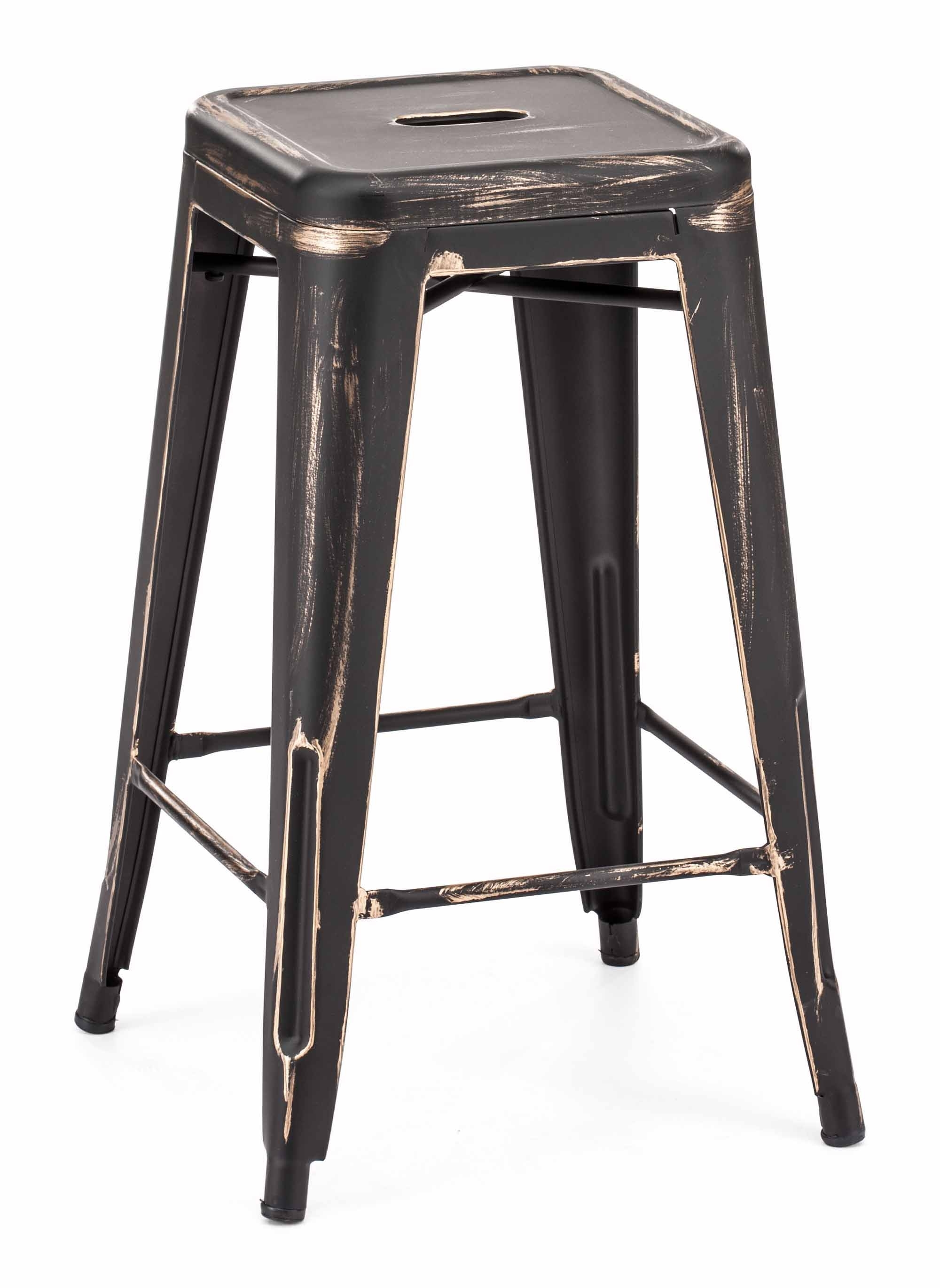 Marius Counter Stool Anti Black Gold (Set Of 2)Zuo Modern With Regard To Marius Dark Grey 3 Piece Sectionals (Image 15 of 25)