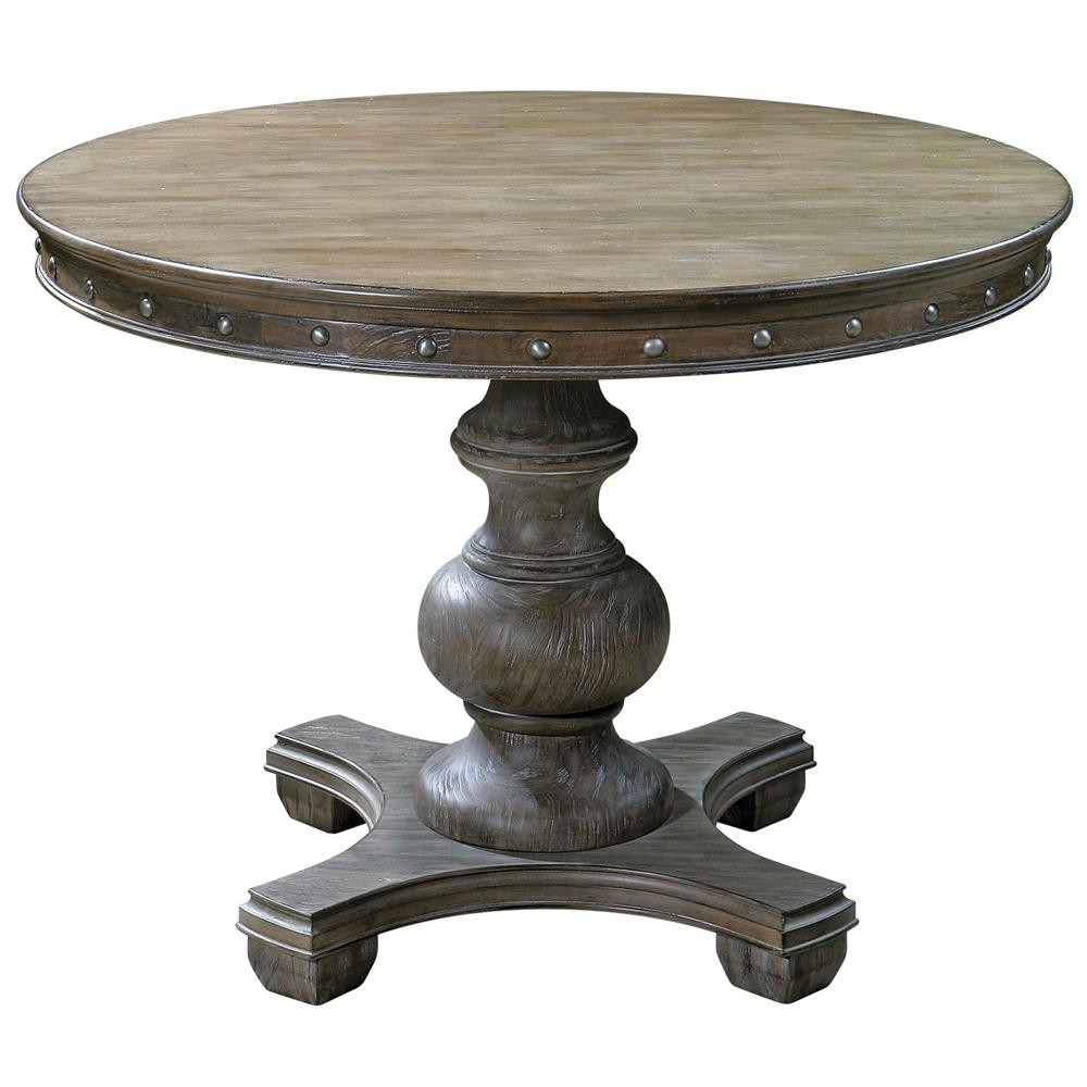 Marius French Country Round Wood Silver Stud Dining Table | Kathy Throughout Marius Dark Grey 3 Piece Sectionals (Image 17 of 25)