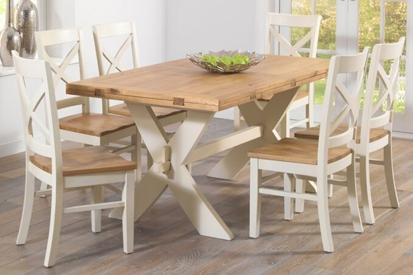 Mark Harris Avignon 165Cm Oak & Cream All Sides Extending Dining With Cream And Wood Dining Tables (Image 15 of 25)