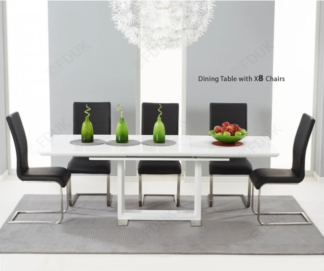 Mark Harris Beckley White High Gloss Dining Set – 160Cm Rectangular With White High Gloss Dining Chairs (Image 15 of 25)