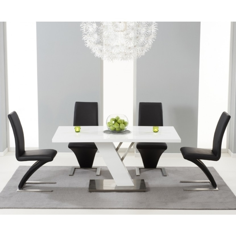 Mark Harris Portland White High Gloss Dining Table – 160Cm With 4 Within White High Gloss Dining Chairs (Image 16 of 25)