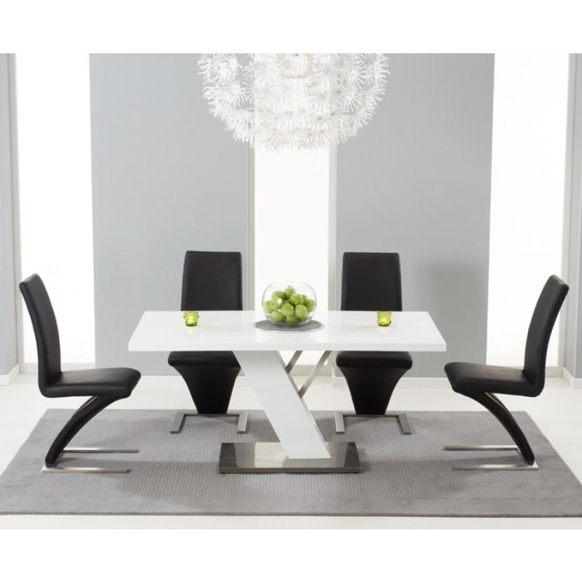 Mark Harris Portland White High Gloss Dining Table – 160Cm With 4 Within White High Gloss Dining Chairs (Image 16 of 25)