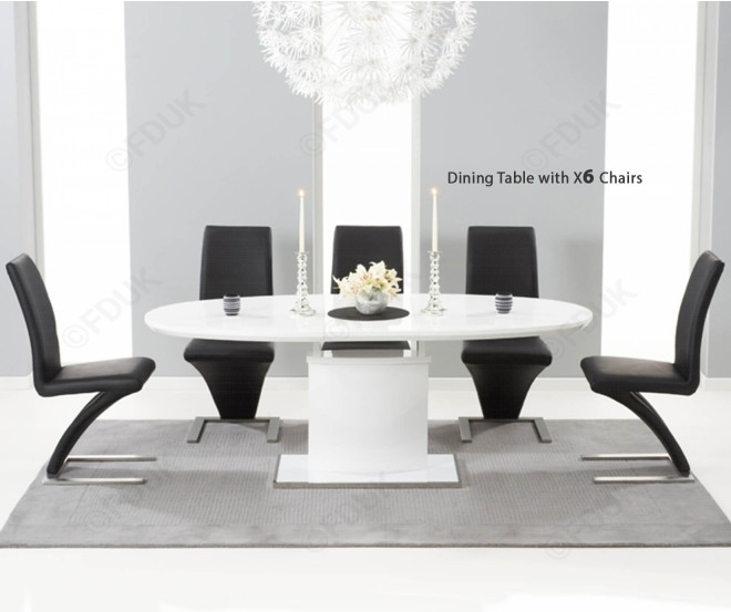 Mark Harris Seville White High Gloss Dining Set – 160Cm Oval With 6 With Regard To High Gloss Dining Sets (Image 17 of 25)