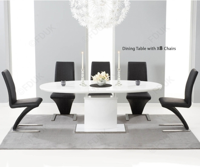 Mark Harris Seville White High Gloss Dining Set – 160Cm Oval With 8 Regarding Black High Gloss Dining Chairs (Image 19 of 25)