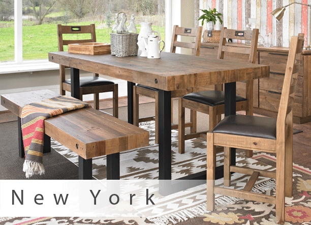 Mark Webster New York Dining Table, 4 Chairs & Bench – John Long Inside New York Dining Tables (Image 11 of 25)