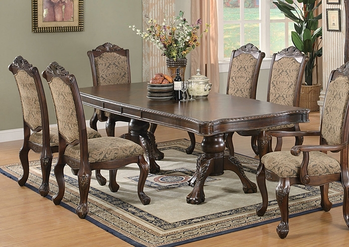 Market Furniture – Paterson, Nj Andrea Brown Cherry Dining Table Within Market 7 Piece Dining Sets With Side Chairs (Image 17 of 25)