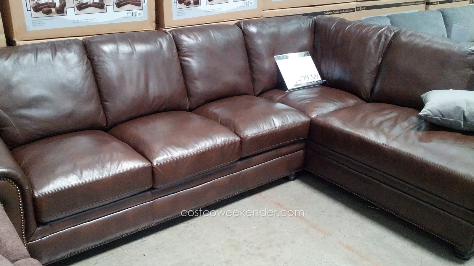 Marks & Cohen Savoy 2 Piece Leather Sectional Couch | Costco Weekender with regard to Cohen Down 2 Piece Sectionals