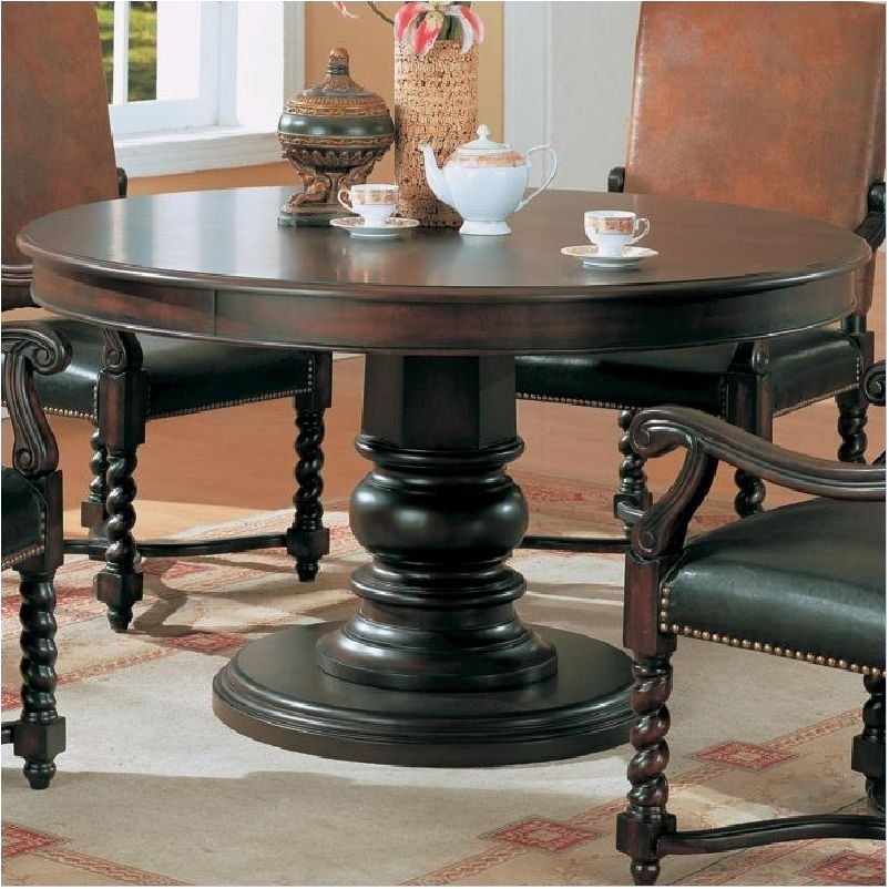 Marvelous Round Dark Wood Pedestal Dining Table Dining Tables Dark With Dark Round Dining Tables (Image 17 of 25)