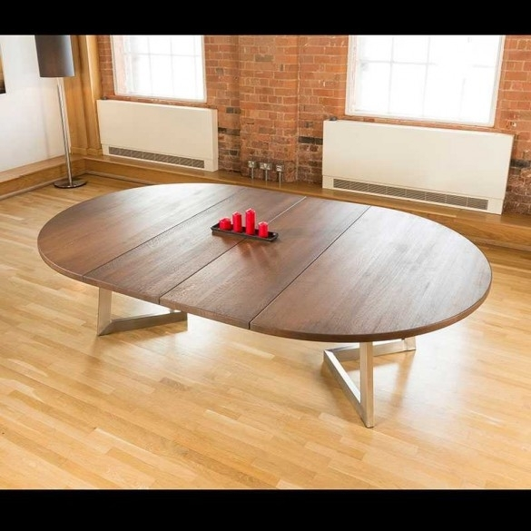 Massive 180 280Cm Extending Luxury Round / Oval Dining Table Oak With Round Dining Tables Extends To Oval (View 18 of 25)
