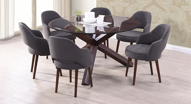 Matheson Nubica 6 Seater Round Glass Top Dining Table Throughout 6 Seater Round Dining Tables (Image 12 of 25)