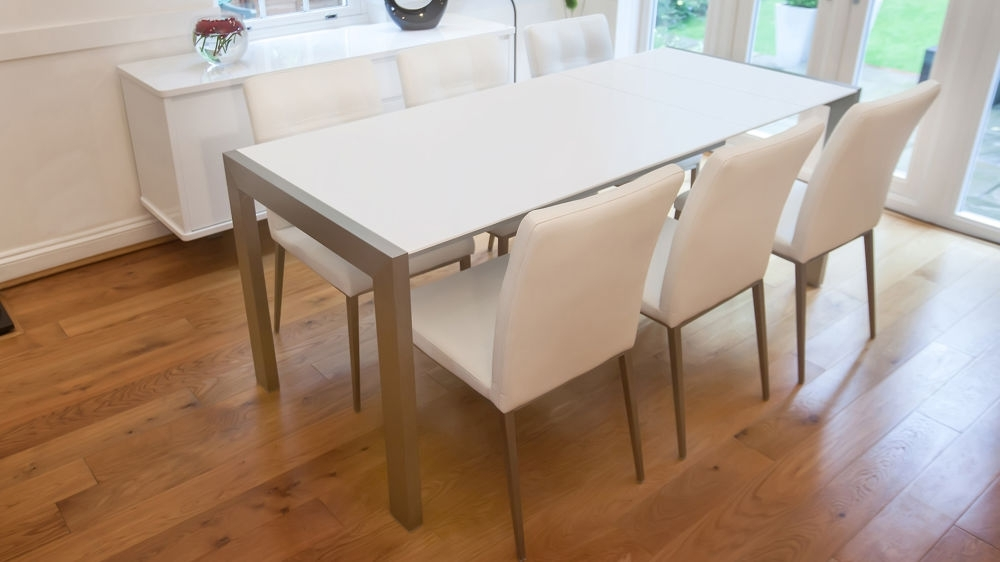 Matt White Extending Dining Table | Brushed Metal Legs | Seats 8 Pertaining To White Extending Dining Tables (Image 15 of 25)