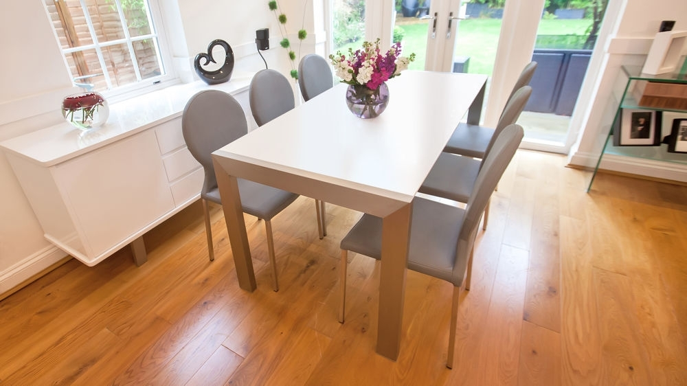 Matt White Extending Dining Table | Brushed Metal Legs | Seats 8 Within Extending Dining Tables Sets (Image 16 of 25)