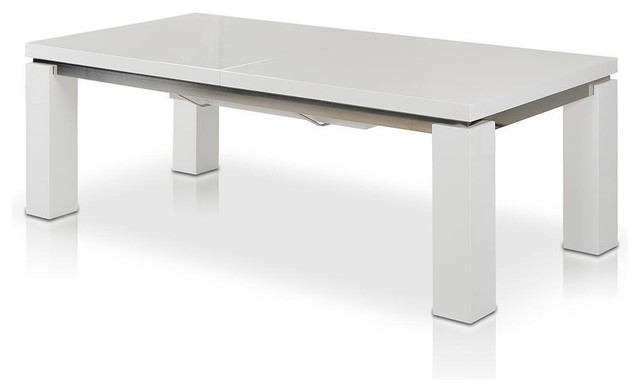 "Maxi 78"" 126"" High Gloss White Extendable Dining Table – Modern With Regard To Large White Gloss Dining Tables (Image 16 of 25)"