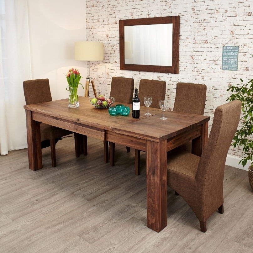 Mayan Walnut Extending Dining Table • Akd Furniture With Walnut Dining Table And 6 Chairs (View 4 of 25)