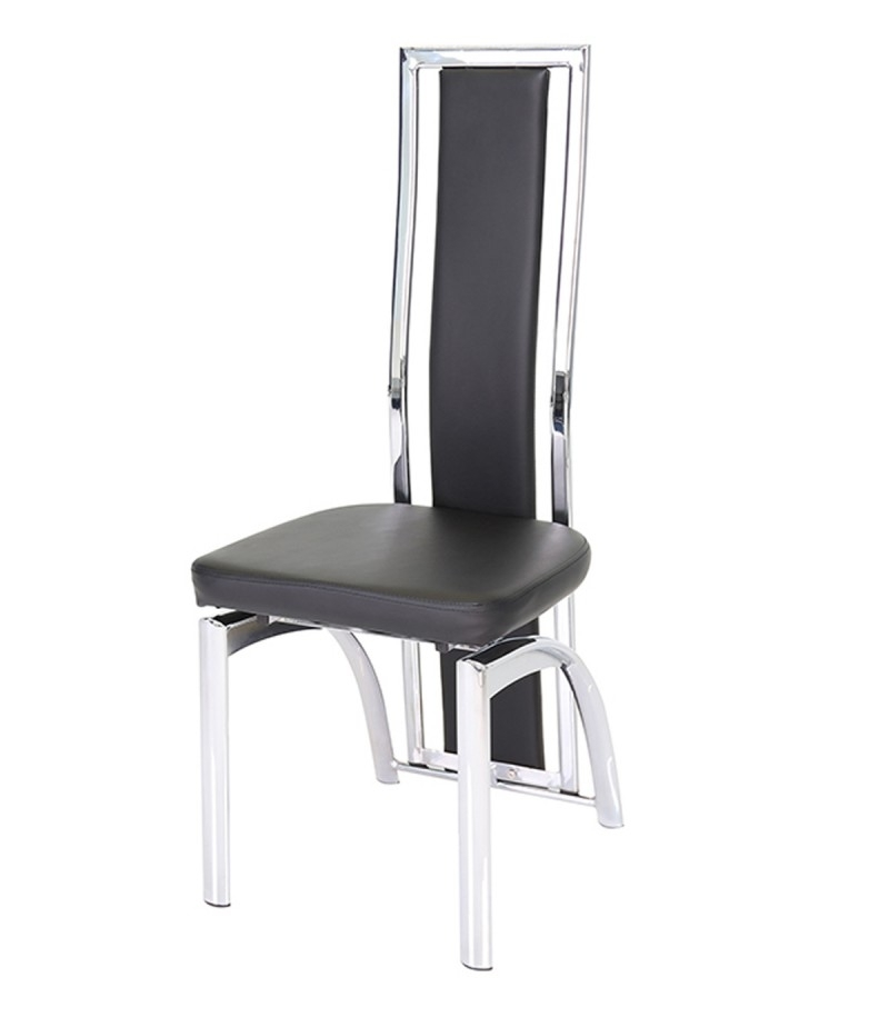 Mayfair Chrome & Black Faux Leather Dining Chair – Godotti Intended For High Back Leather Dining Chairs (Image 19 of 25)