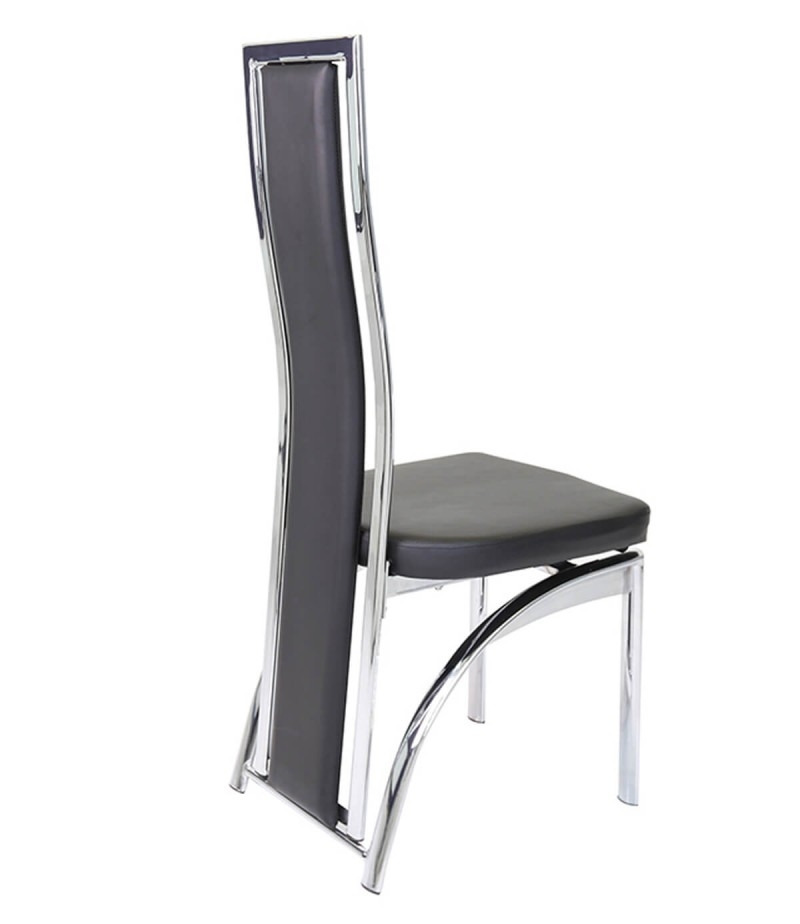 Mayfair Chrome & Black Faux Leather Dining Chair – Godotti With Chrome Dining Chairs (View 10 of 25)
