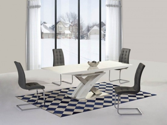Mayfair Xo White High Gloss Big Extending Dining Table And 6 Enzo In Mayfair Dining Tables (View 14 of 25)