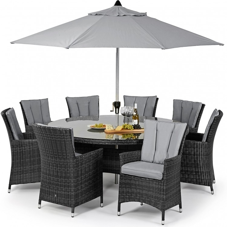 Maze Rattan La 8 Seat Dining Set| Free Cushions |Oak Furniture House In 8 Seater Round Dining Table And Chairs (View 18 of 25)