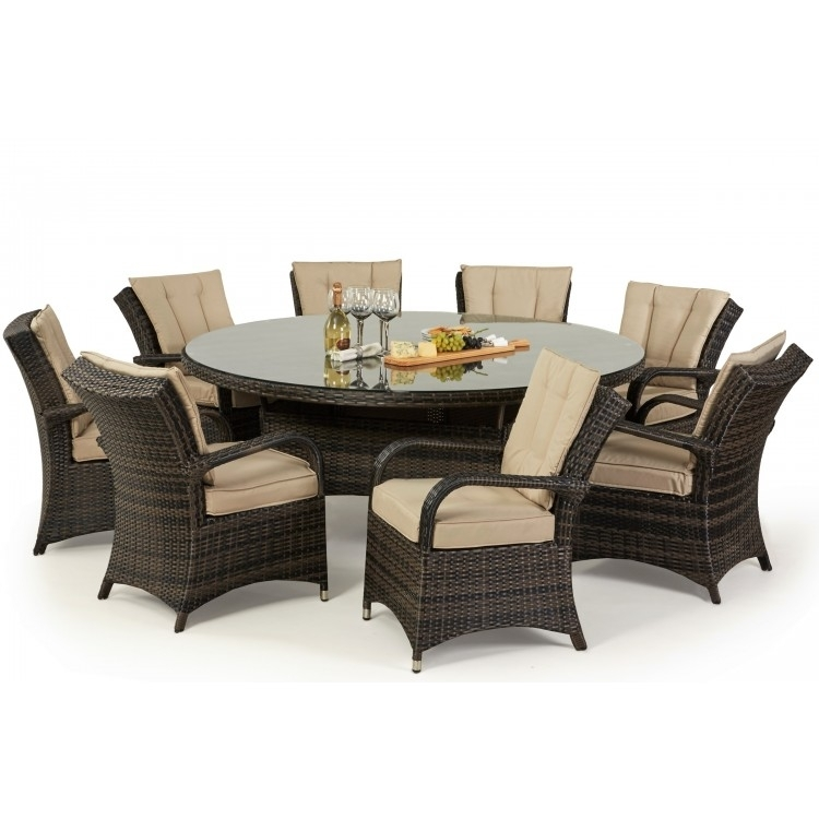 Maze Texas 8 Dining Set | Free Parasol | Oak Furniture House Inside 8 Seater Round Dining Table And Chairs (Image 18 of 25)