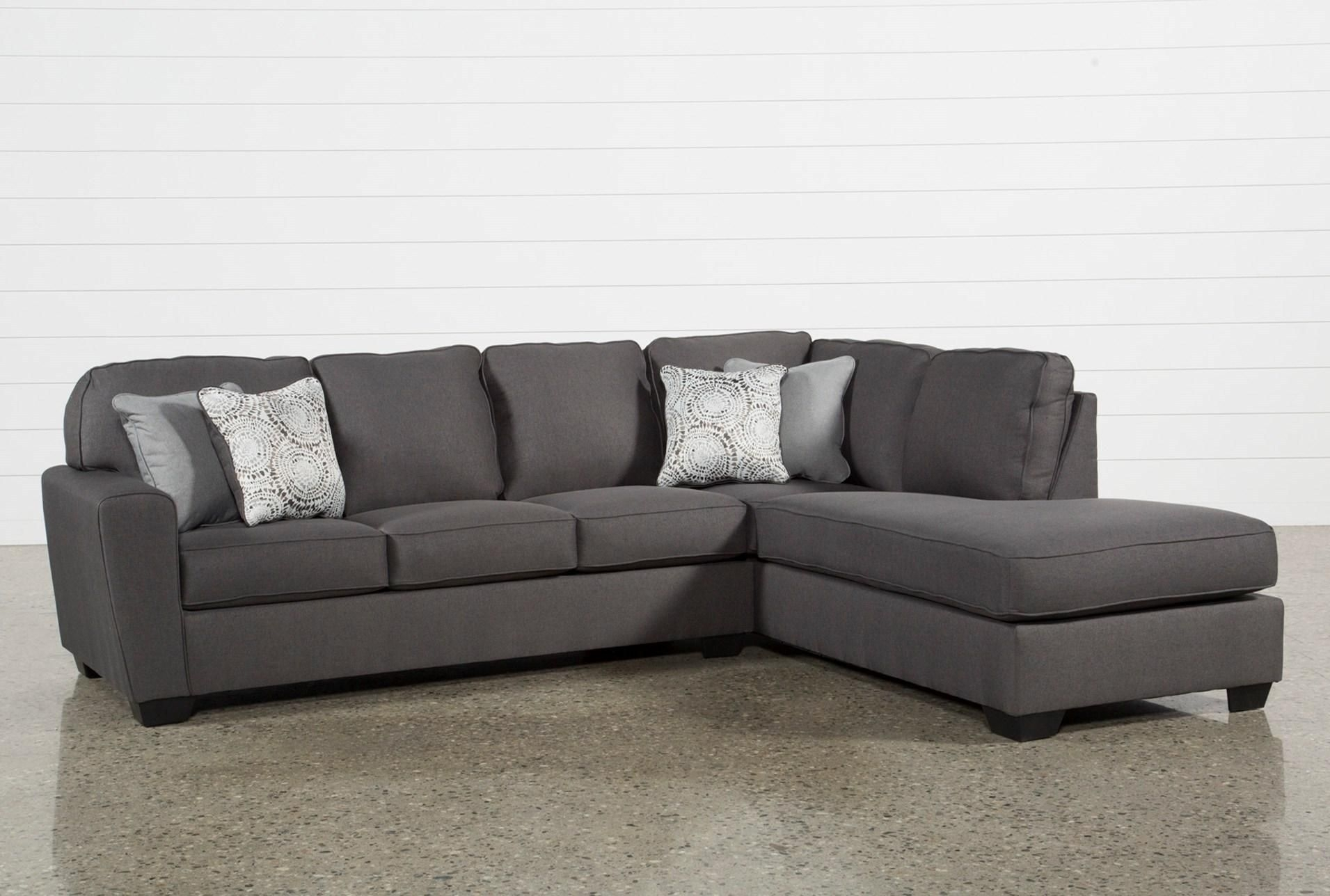 Mcdade Graphite 2 Piece Sectional W/raf Chaise | Livingroom Intended For Arrowmask 2 Piece Sectionals With Sleeper & Left Facing Chaise (View 21 of 25)