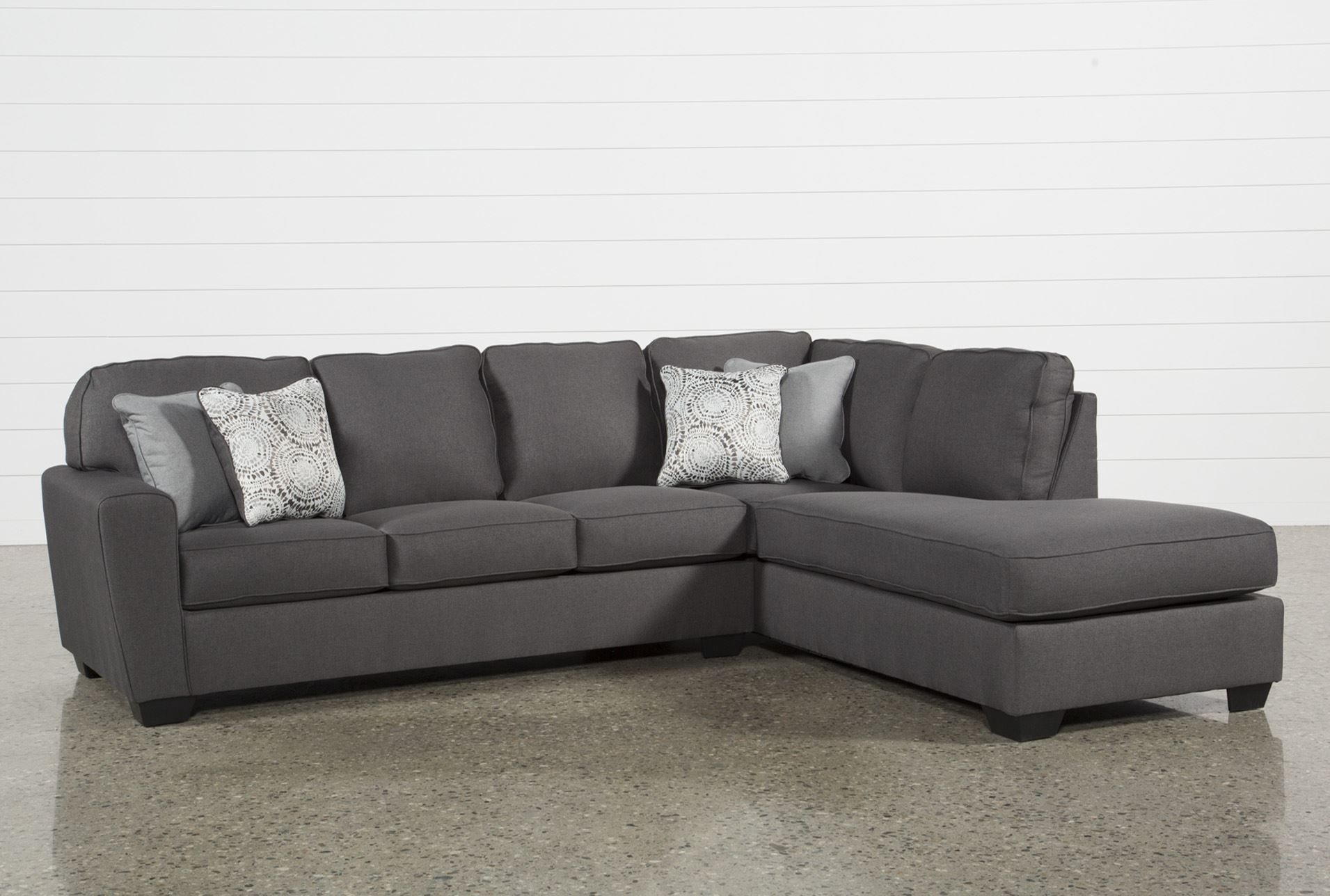 Mcdade Graphite 2 Piece Sectional W/raf Chaise | Products Within Mcculla Sofa Sectionals With Reversible Chaise (Image 18 of 25)