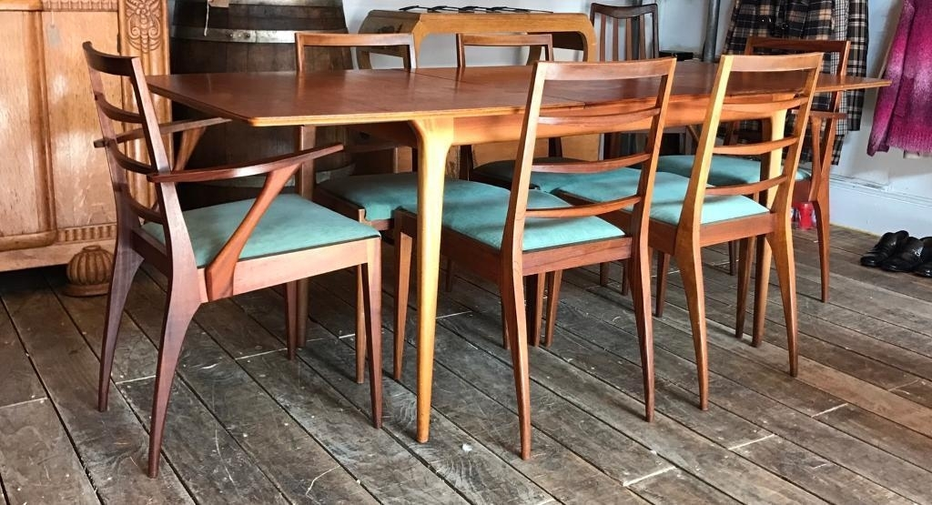Mcintosh Retro Extending Dining Table With Six Chairs  Mid Century With Retro Extending Dining Tables (Image 15 of 25)
