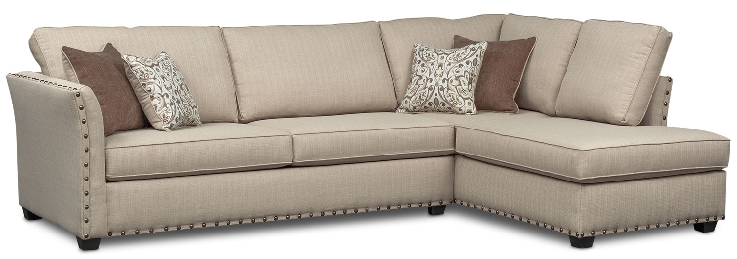Mckenna 2 Piece Sectional And Accent Chair – Sand | American Throughout Jobs Oat 2 Piece Sectionals With Left Facing Chaise (Image 16 of 25)