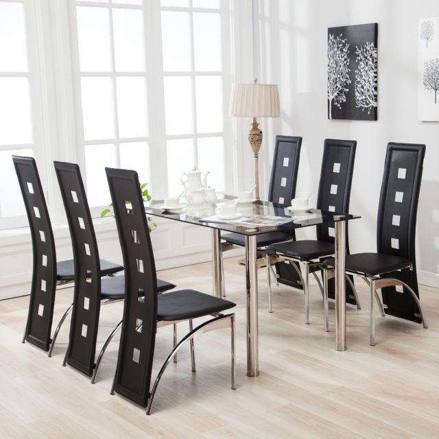 Mecor 7Pcs Dining Table Set 6 Chairs Glass Metal Kitchen Room In 6 Chair Dining Table Sets (View 24 of 25)