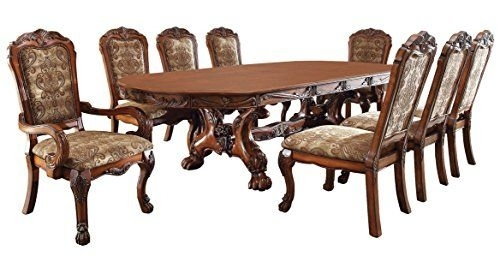Medieve English Style Antique Oak Finish 9Piece Formal Dining Table Inside Palazzo 6 Piece Rectangle Dining Sets With Joss Side Chairs (Image 19 of 25)