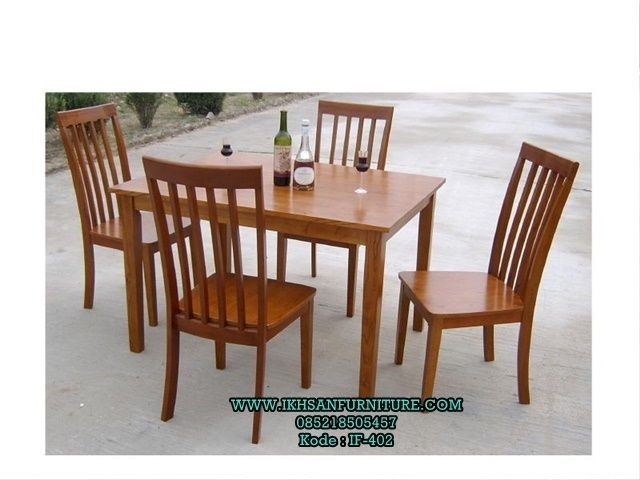 Meja Makan 4 Kursi Kayu Jati Minimalis | Meja Makan Minimalis Regarding Laurent 7 Piece Rectangle Dining Sets With Wood And Host Chairs (Image 16 of 25)
