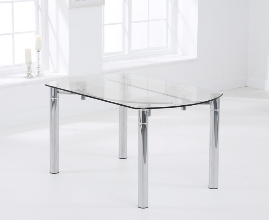 Melbourne 145Cm Round Glass Extending Dining Table With Calgary inside Glass Round Extending Dining Tables