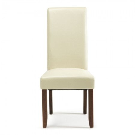 Melbourne Faux Leather Dining Chairs With Walnut Legs | Free With Regard To Cream Faux Leather Dining Chairs (Image 18 of 25)
