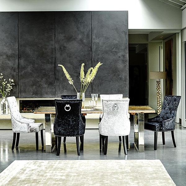 Melia Crushed Velvet Dining Chair, Black | Dining Chairs | Dining Room With Regard To Velvet Dining Chairs (View 17 of 25)