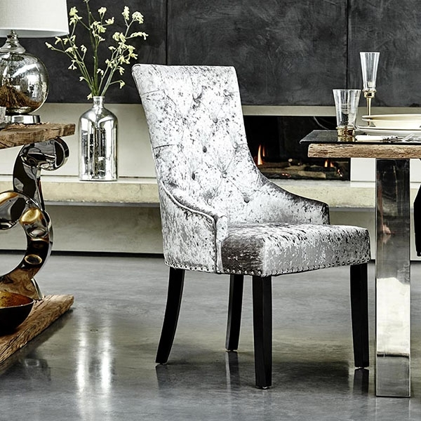 Melia Crushed Velvet Dining Chair, Silver | Dining Chairs | Dining Room Within Velvet Dining Chairs (Image 14 of 25)