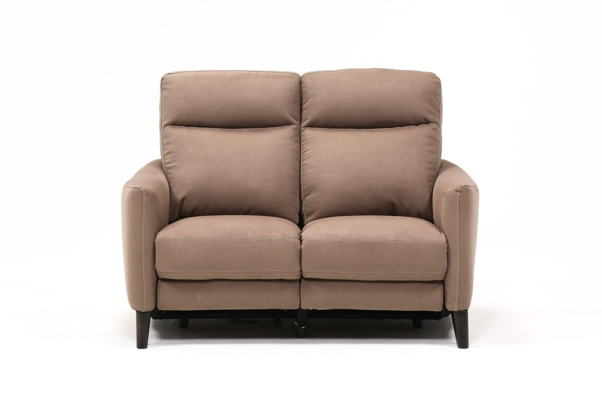 Melina Cocoa Power Reclining Loveseat W/usb   Living Spaces Throughout Turdur 3 Piece Sectionals With Laf Loveseat (Image 15 of 25)