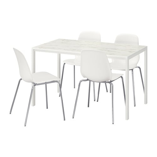 Melltorp/leifarne Table And 4 Chairs White Marble Effect/chrome Inside Marble Effect Dining Tables And Chairs (Image 16 of 25)