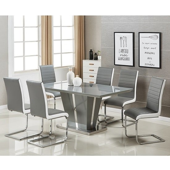Memphis Glass Dining Table In Grey Gloss And 6 Symphony With Regard To Grey Gloss Dining Tables (View 13 of 25)