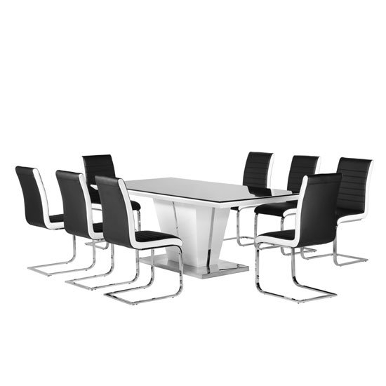 Memphis Glass Dining Table In High Gloss With 8 Dining Within Black 8 Seater Dining Tables (Image 22 of 25)