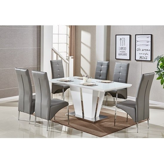 Memphis Glass Dining Table In White Gloss With 6 Grey Within White Gloss And Glass Dining Tables (Image 15 of 25)
