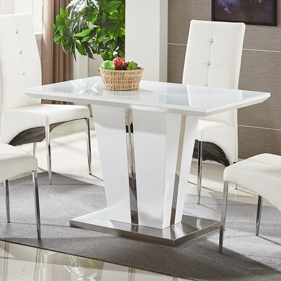 Memphis Glass Dining Table Small In White Gloss And Chrome Inside Glass And White Gloss Dining Tables (Image 17 of 25)