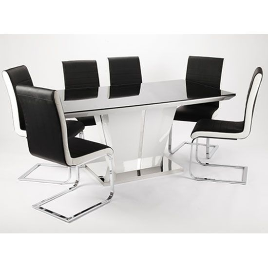 Memphis High Gloss Dining Table Glass Top 160Cm With 4 Chair   For With Regard To Black Gloss Dining Sets (Image 17 of 25)