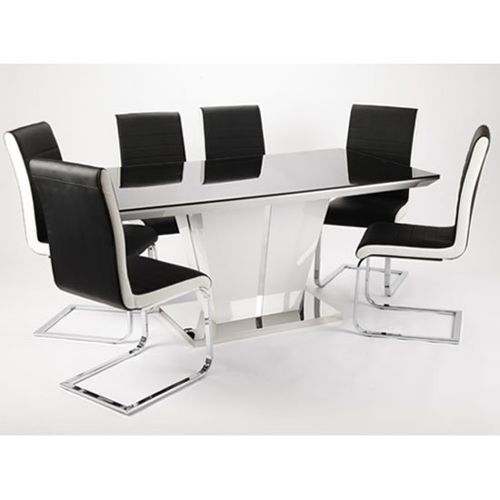 Memphis High Gloss Dining Table With Glass Top And 6 Chairs Intended For Black Gloss Dining Tables And 6 Chairs (View 2 of 25)