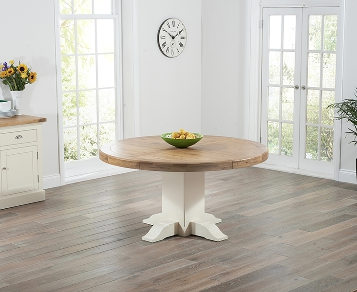 Memphis Oak And Cream 150Cm Round Dining Table With Cream And Oak Dining Tables (Image 17 of 25)