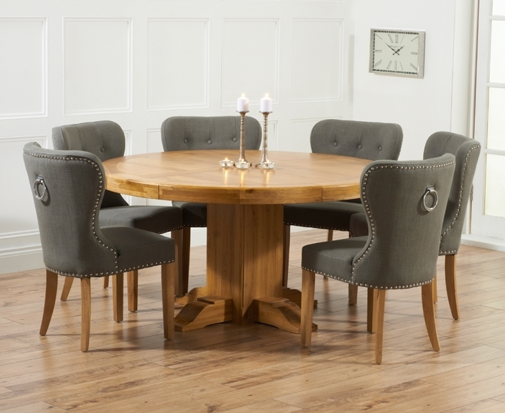 Memphis Solid Oak 150Cm Round Pedestal Dining Set With 4 Vicenza Intended For Dining Tables With Grey Chairs (Image 20 of 25)