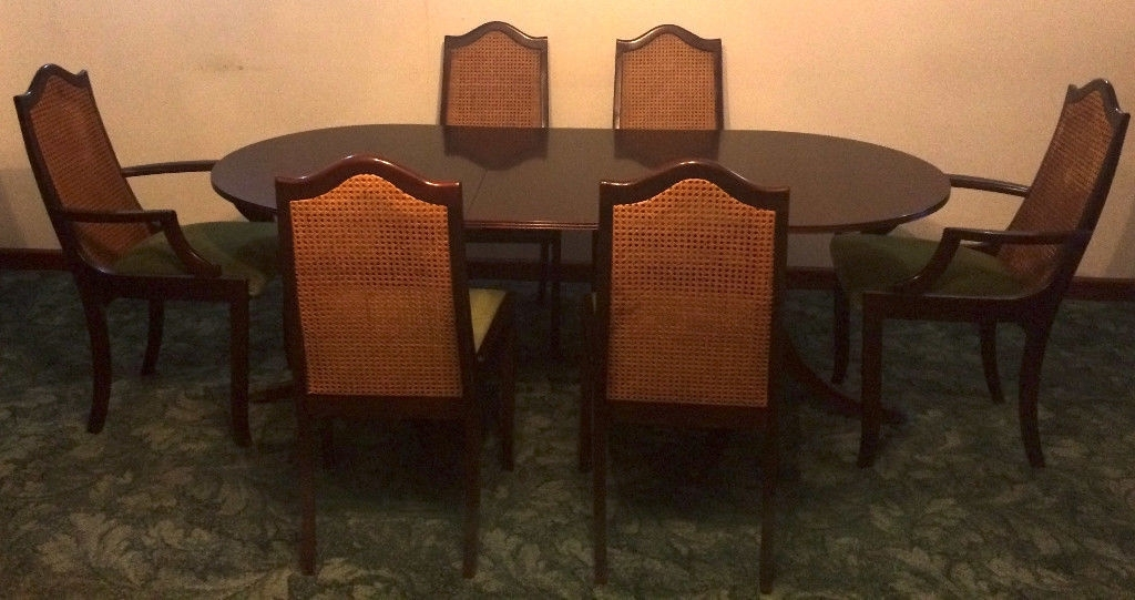 Meredew Mahogany Table 6 Matching Chairs Dark Wood Extendable Dining Pertaining To Extendable Dining Tables And 6 Chairs (Image 21 of 25)