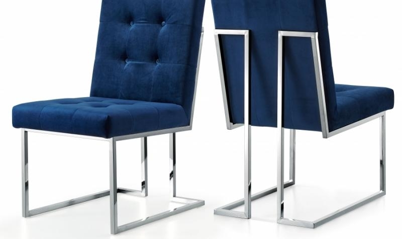 Meridian Furniture Alexis Modern Navy Velvet Chrome Legs Dining Throughout Ebay Dining Chairs (Image 19 of 25)